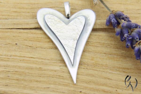 Anhänger Silber 925/-, doppeltes Herz