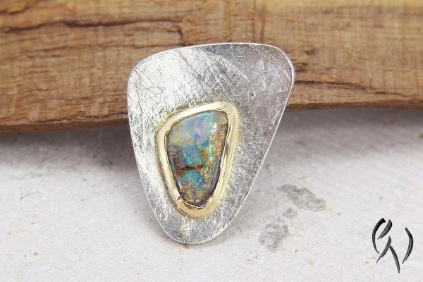 Anhänger Silber 925/- mit Opal in einer Goldfassung