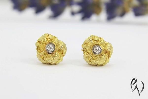Ohrstecker Knitterkugel mit Brillant, Gold 750/-